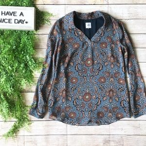CAbi Paisely Floral Blue Brown Long Sleeve Blouse
